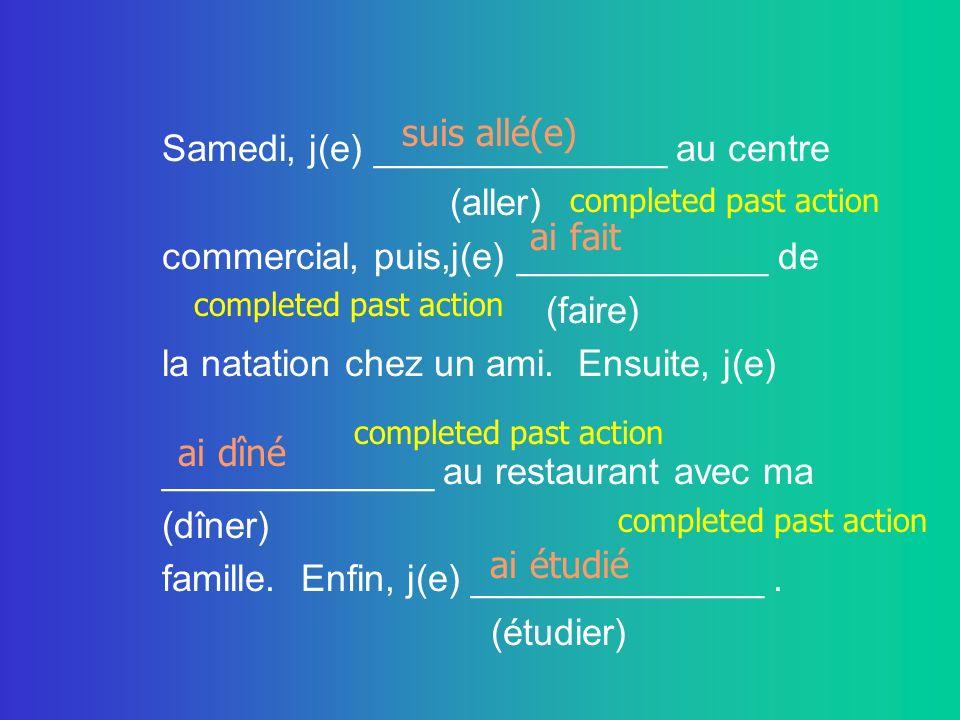 Samedi, j(e) ______________ au centre (aller)