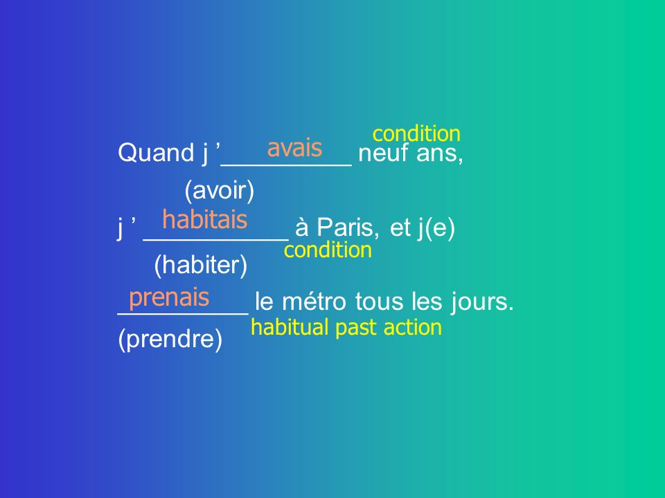 Quand j '_________ neuf ans, (avoir) j ' __________ à Paris, et j(e)