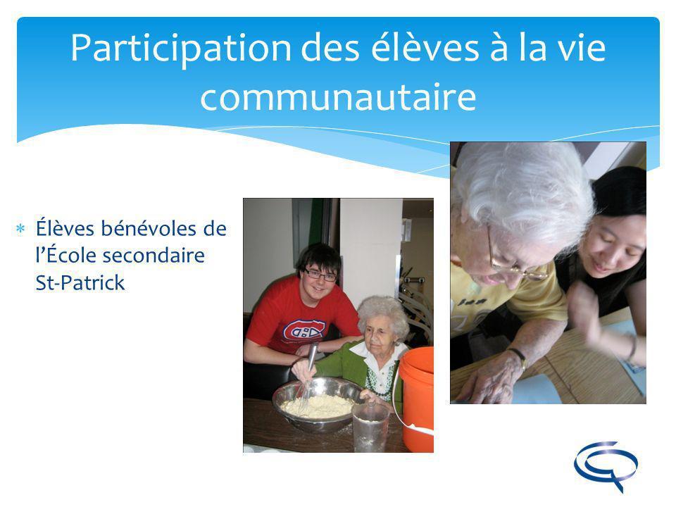 Participation des élèves à la vie communautaire