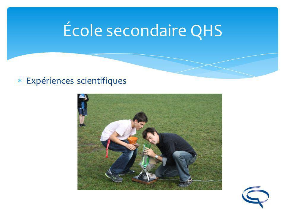 École secondaire QHS Expériences scientifiques