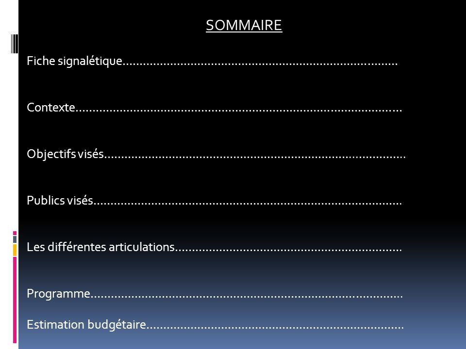 SOMMAIRE Fiche signalétique………………………………………………………………………