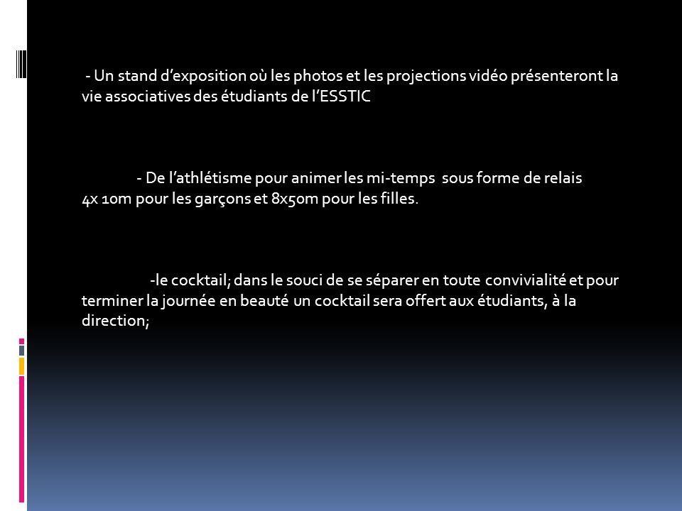 - Un stand d'exposition où les photos et les projections vidéo présenteront la vie associatives des étudiants de l'ESSTIC