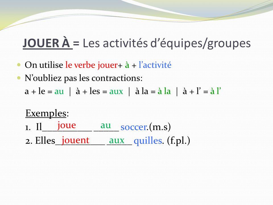 JOUER À = Les activités d'équipes/groupes