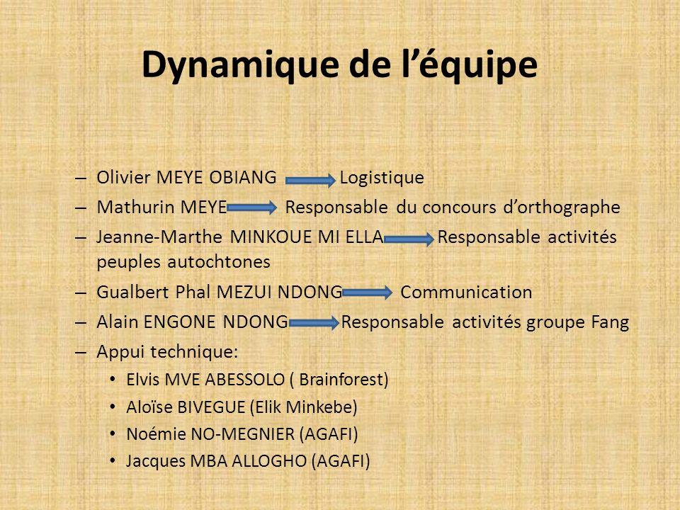 Dynamique de l'équipe Olivier MEYE OBIANG Logistique