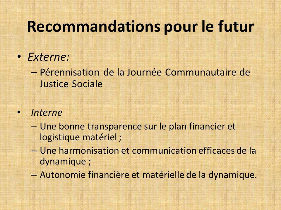 Recommandations pour le futur