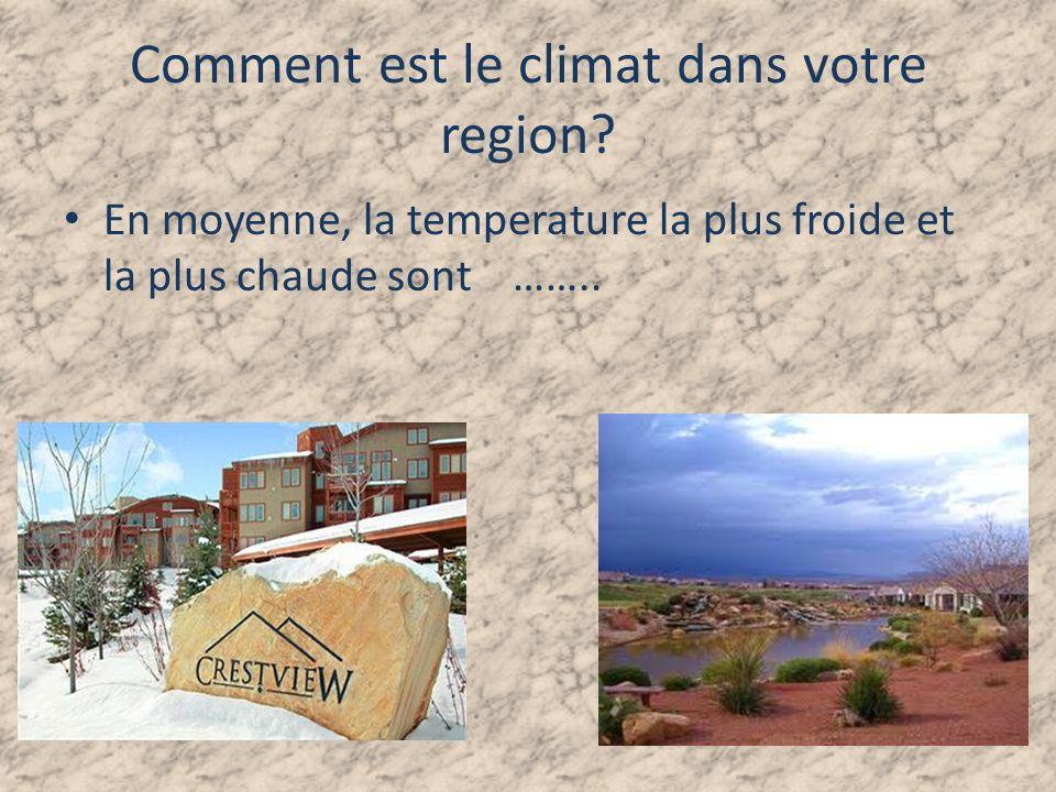 Comment est le climat dans votre region