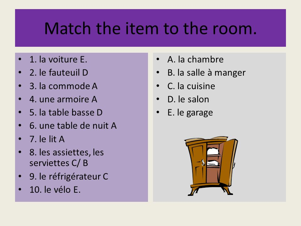 Match the item to the room.