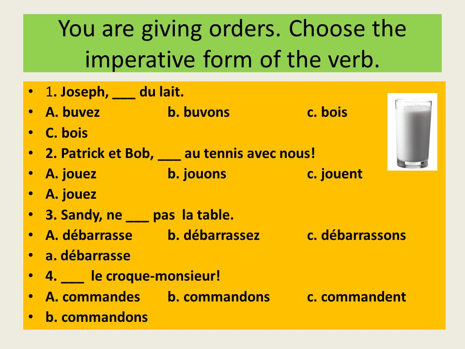 You are giving orders. Choose the imperative form of the verb.
