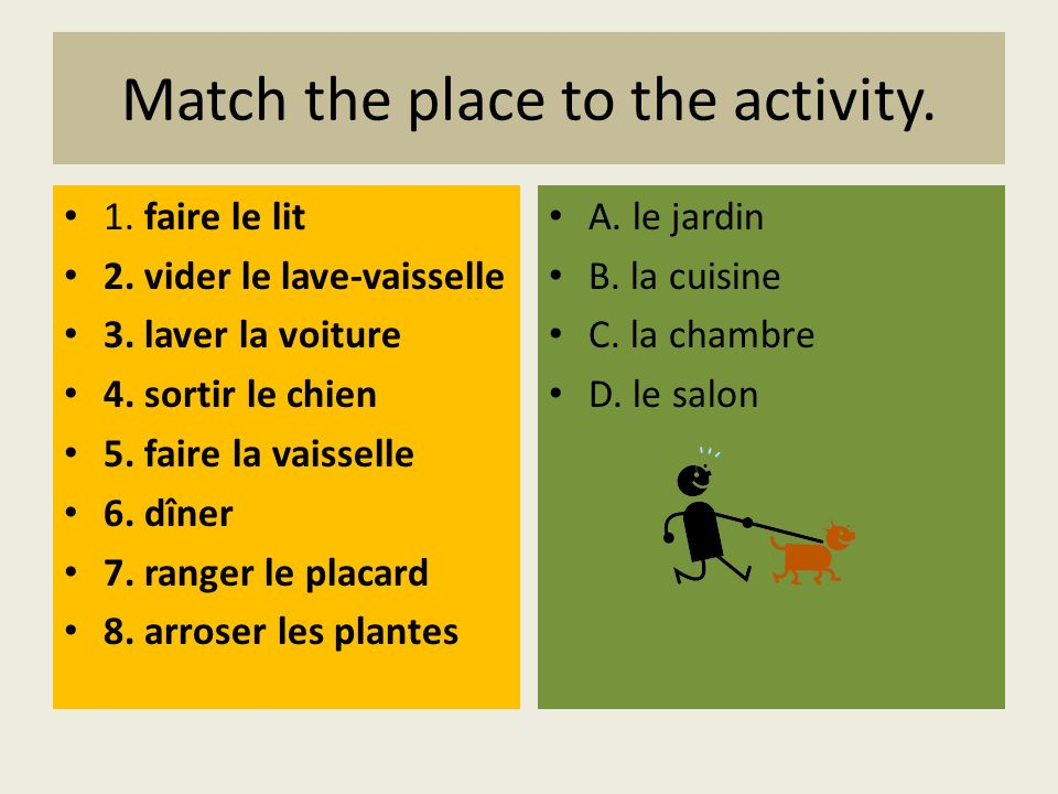 Match the place to the activity.