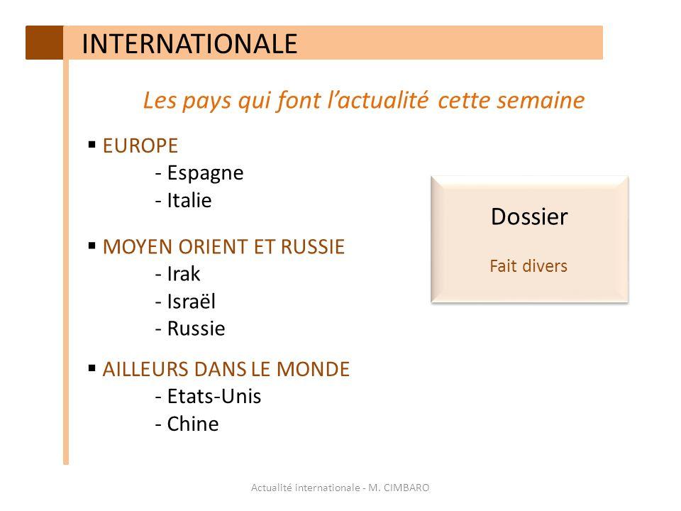 INTERNATIONALE Les pays qui font l'actualité cette semaine Dossier
