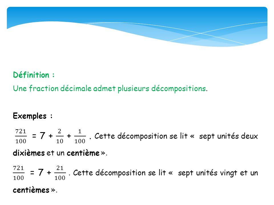 Définition : Une fraction décimale admet plusieurs décompositions. Exemples :