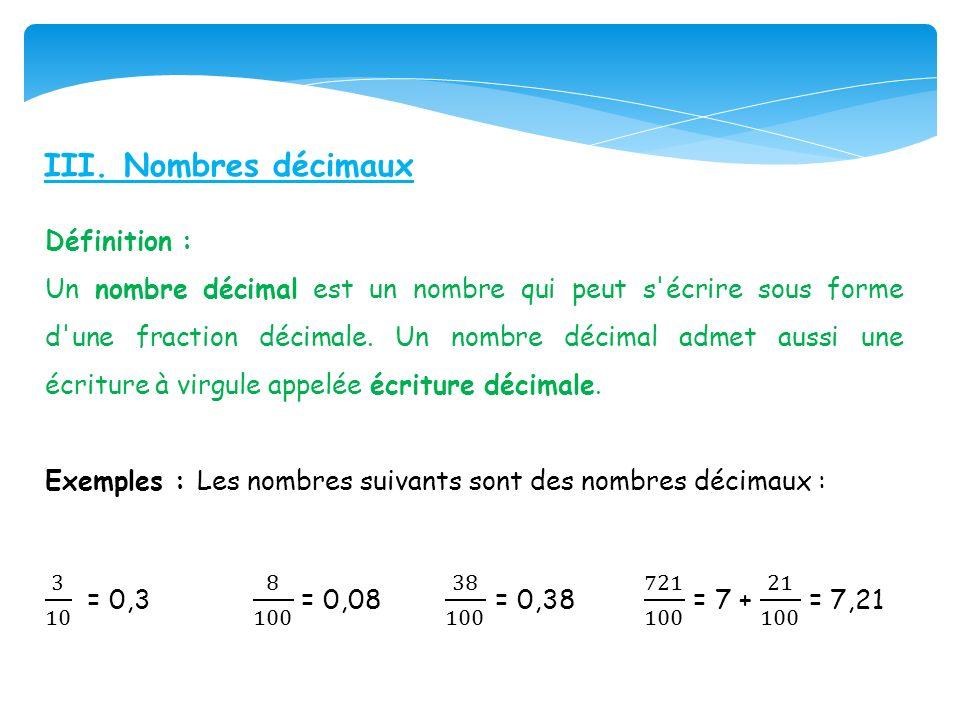 III. Nombres décimaux Définition :