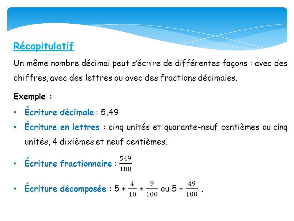 RécapitulatifUn même nombre décimal peut s'écrire de différentes façons : avec des chiffres, avec des lettres ou avec des fractions décimales.