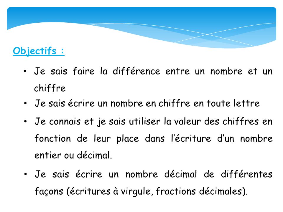 Objectifs :Je sais faire la différence entre un nombre et un chiffre. Je sais écrire un nombre en chiffre en toute lettre.