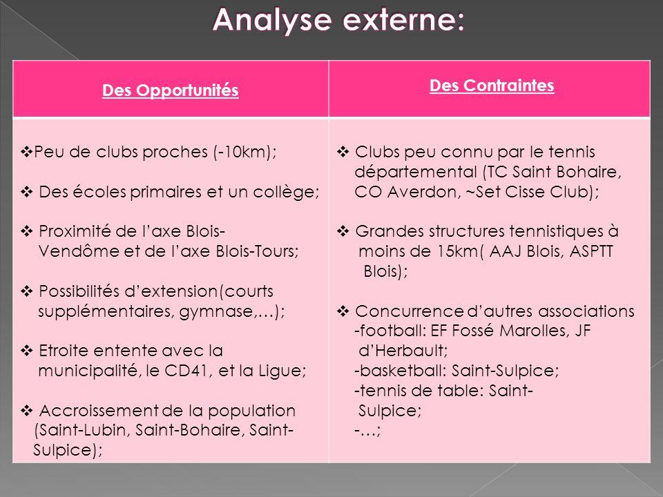 Analyse externe: Des Opportunités Des Contraintes