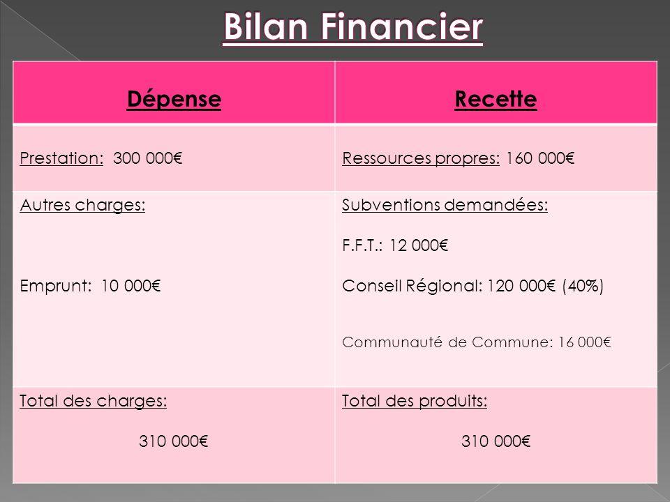 Bilan Financier Dépense Recette Prestation: 300 000€