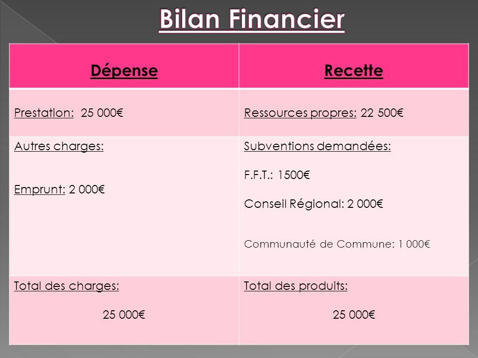 Bilan Financier Dépense Recette Prestation: 25 000€