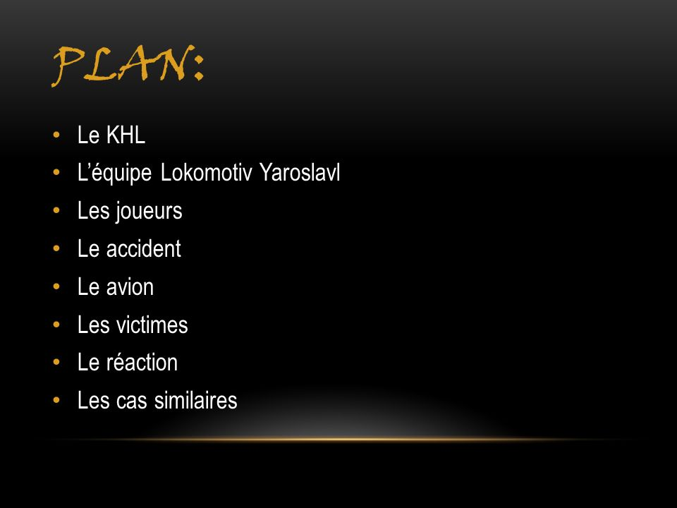 Plan: Le KHL L'équipe Lokomotiv Yaroslavl Les joueurs Le accident
