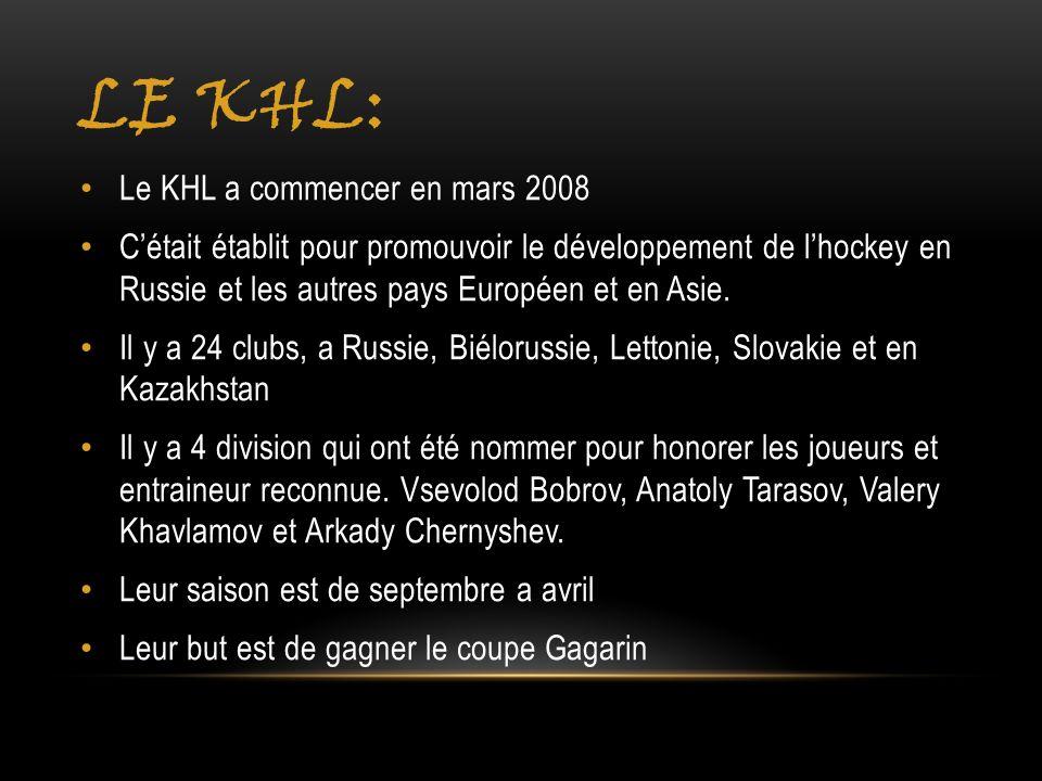 Le khl: Le KHL a commencer en mars 2008