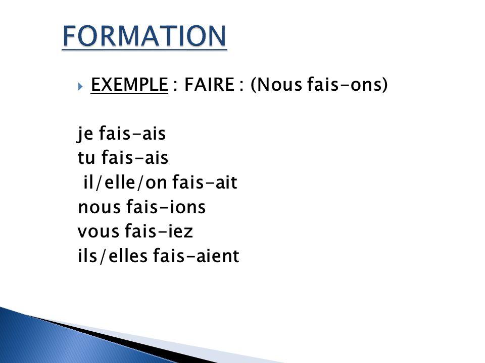 FORMATION EXEMPLE : FAIRE : (Nous fais-ons) je fais-ais tu fais-ais