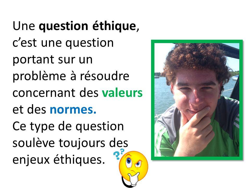 Une question éthique, c'est une question portant sur un problème à résoudre concernant des valeurs et des normes.