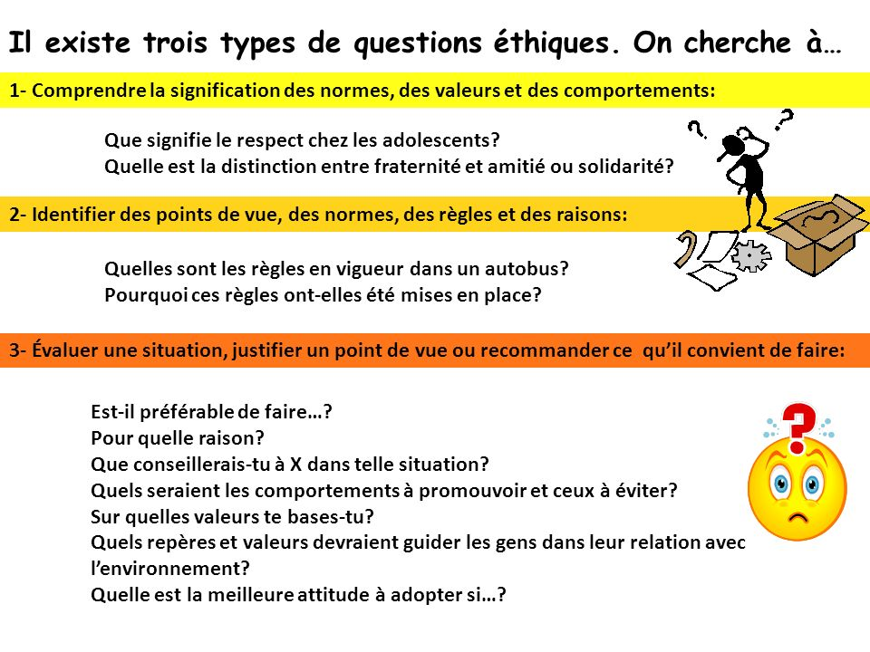 Il existe trois types de questions éthiques. On cherche à…