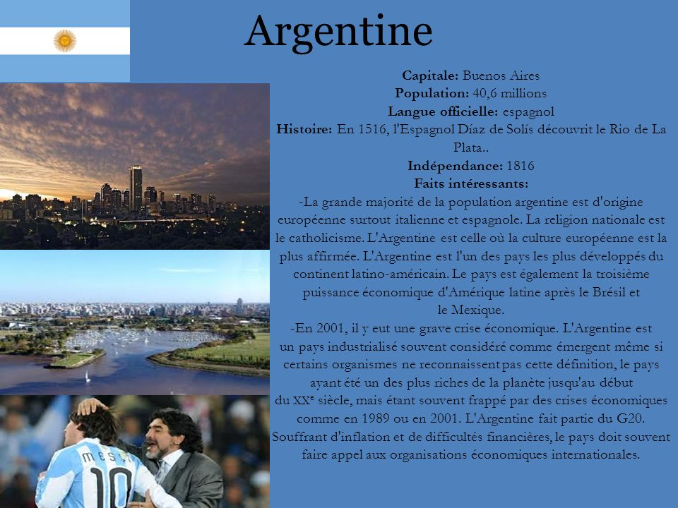 Argentine Capitale: Buenos Aires Population: 40,6 millions