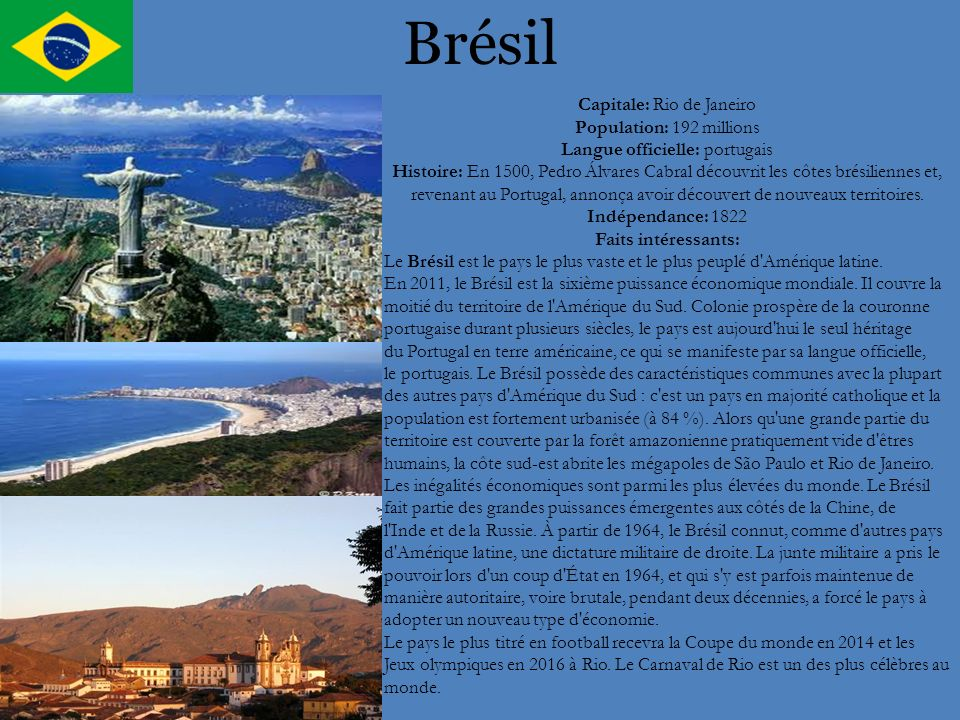 Brésil Capitale: Rio de Janeiro Population: 192 millions