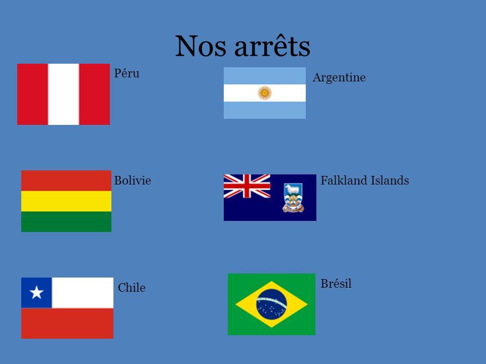 Nos arrêts Péru Argentine Bolivie Falkland Islands Brésil Chile