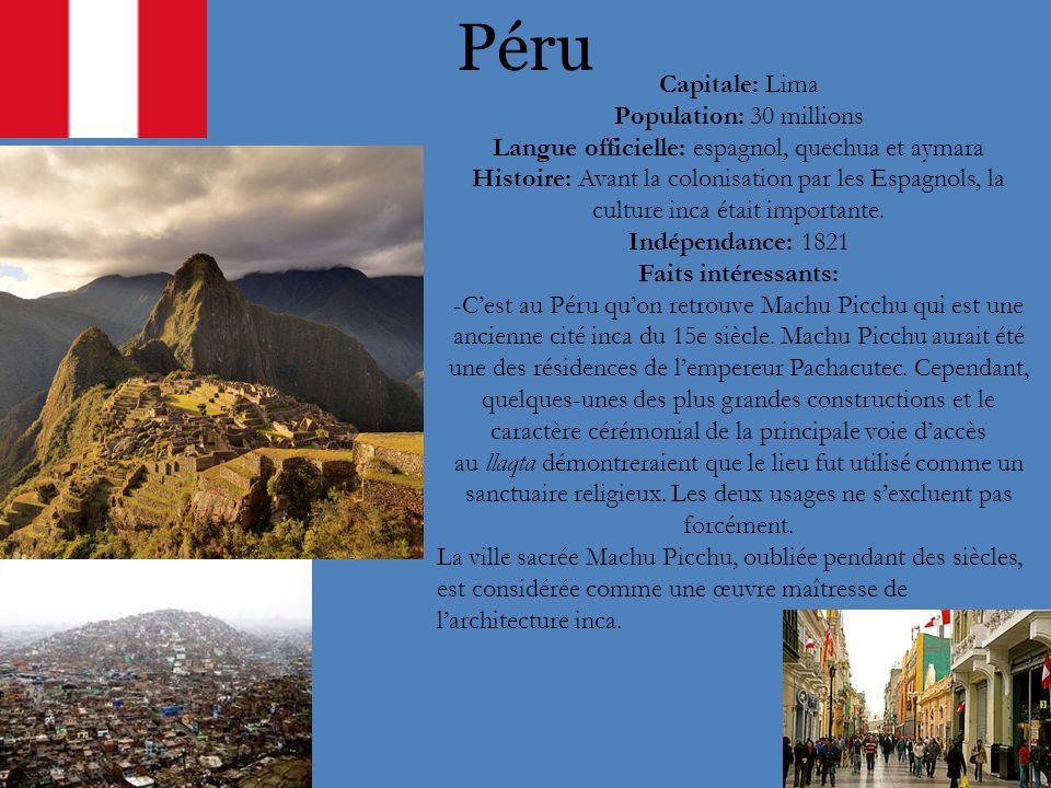 Langue officielle: espagnol, quechua et aymara