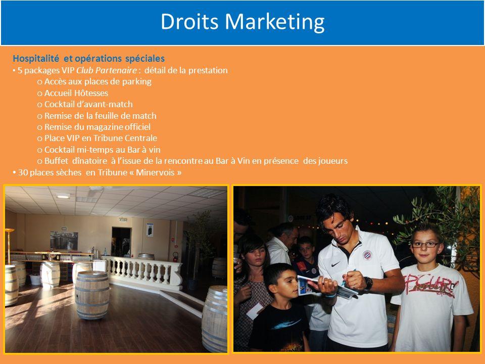 Droits Marketing Hospitalité et opérations spéciales