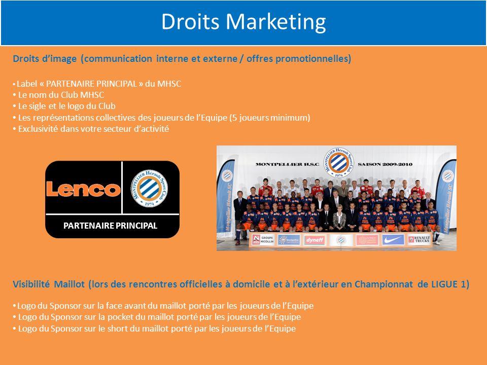 Droits Marketing Droits d'image (communication interne et externe / offres promotionnelles) Label « PARTENAIRE PRINCIPAL » du MHSC.