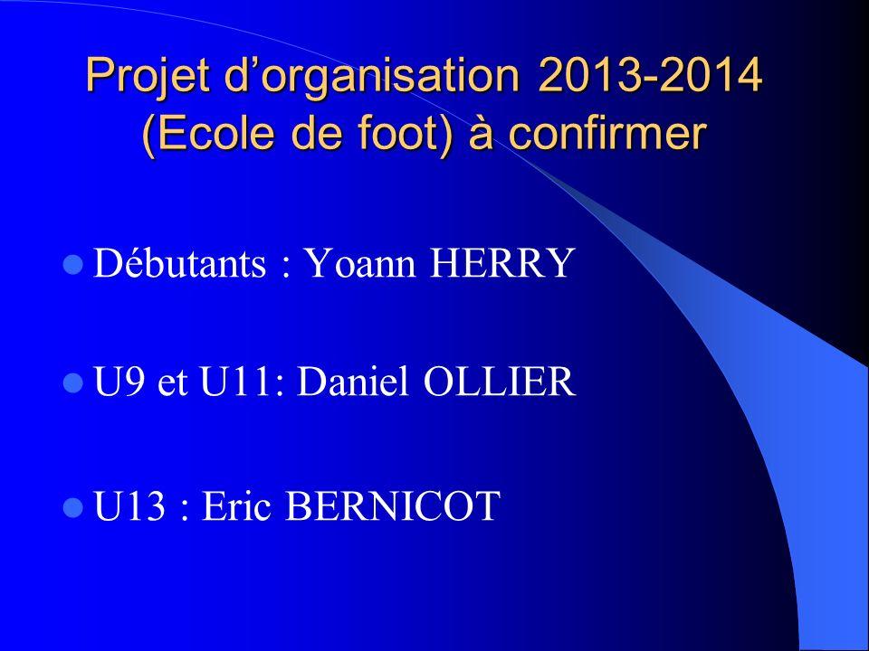 Projet d'organisation 2013-2014 (Ecole de foot) à confirmer