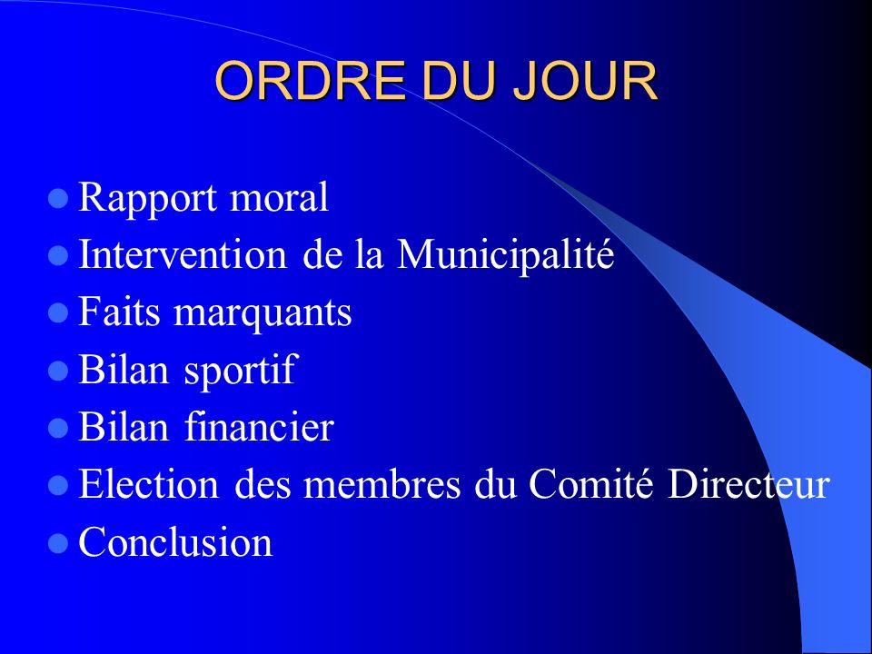 ORDRE DU JOUR Rapport moral Intervention de la Municipalité