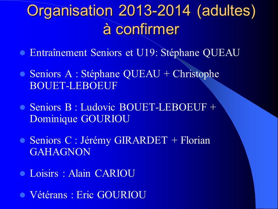 Organisation 2013-2014 (adultes) à confirmer