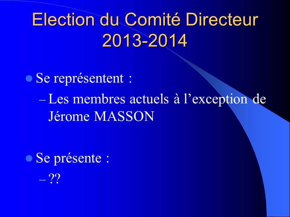 Election du Comité Directeur 2013-2014