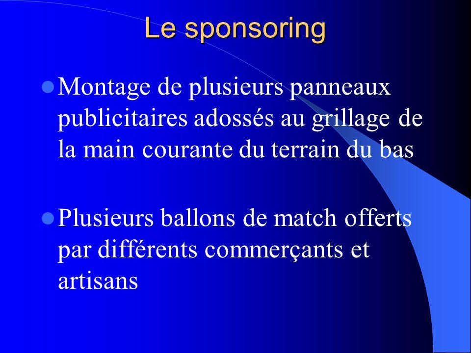 Le sponsoring Montage de plusieurs panneaux publicitaires adossés au grillage de la main courante du terrain du bas.