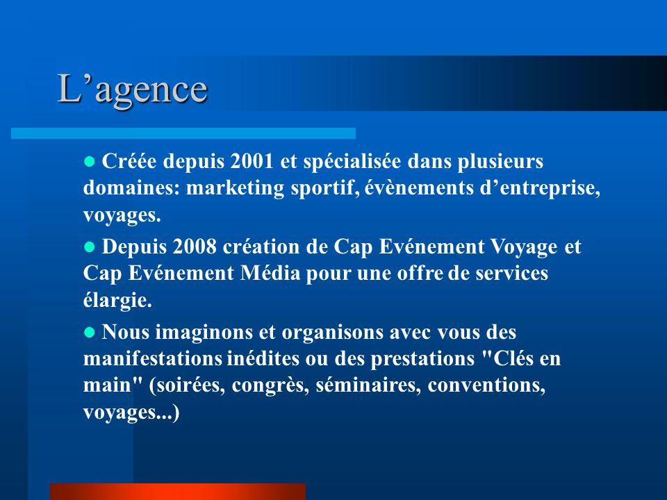 L'agence Créée depuis 2001 et spécialisée dans plusieurs domaines: marketing sportif, évènements d'entreprise, voyages.