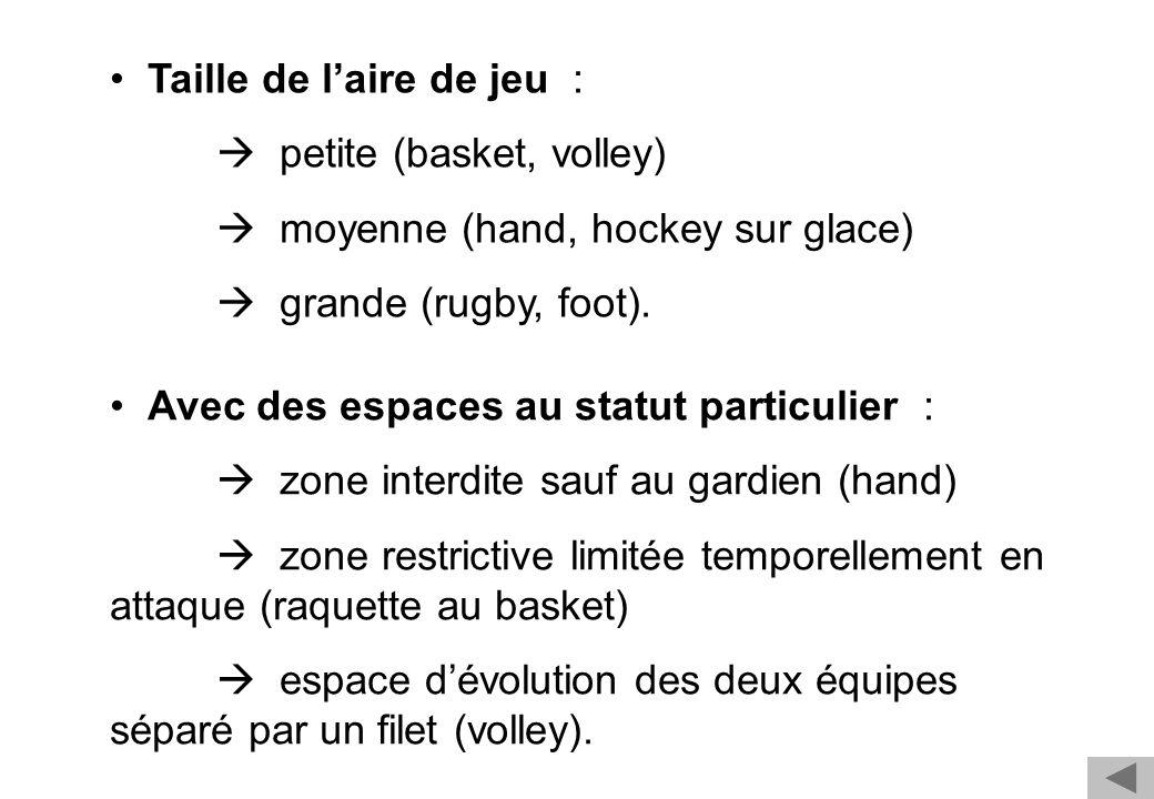 Taille de l'aire de jeu :  petite (basket, volley)