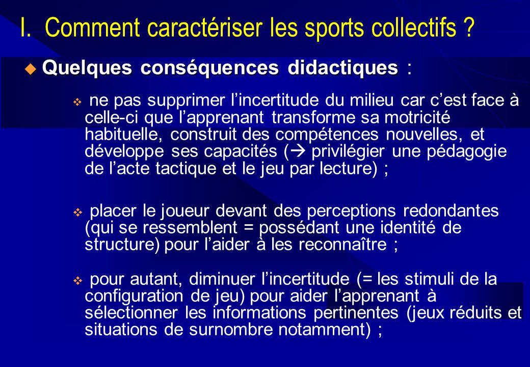 I. Comment caractériser les sports collectifs