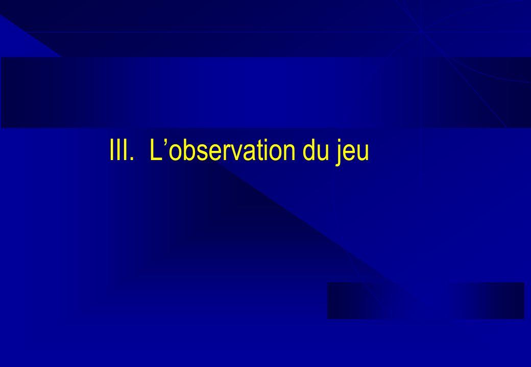 III. L'observation du jeu