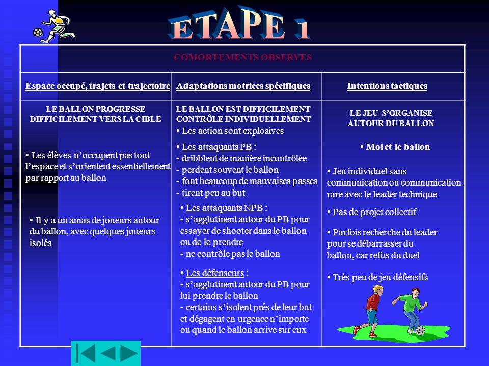 ETAPE 1 COMORTEMENTS OBSERVES Espace occupé, trajets et trajectoire