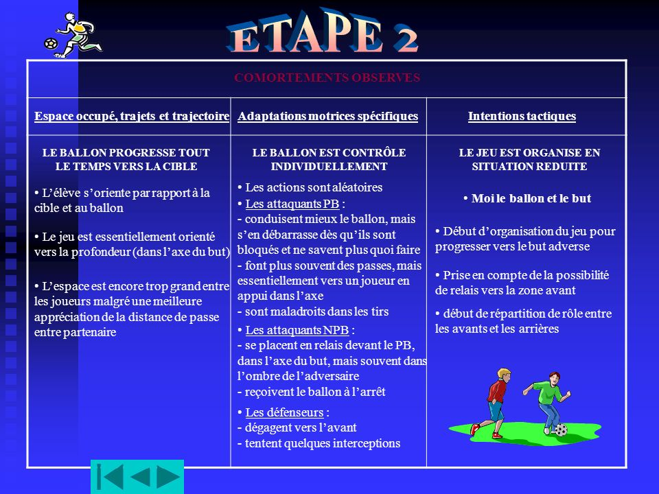 ETAPE 2 COMORTEMENTS OBSERVES Espace occupé, trajets et trajectoire
