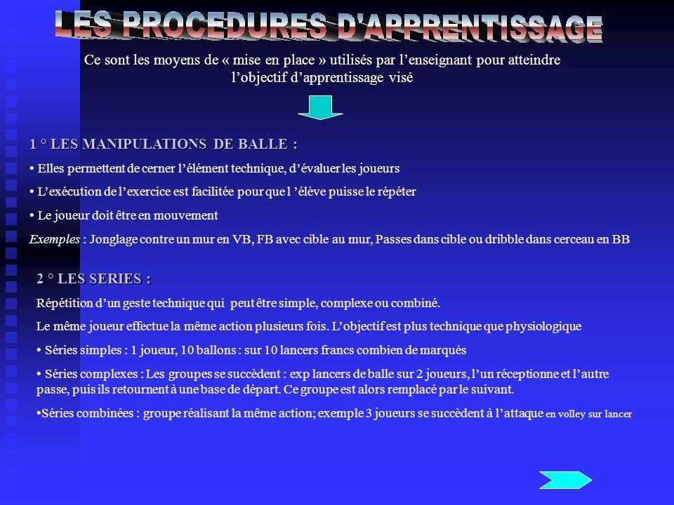 1 ° LES MANIPULATIONS DE BALLE :