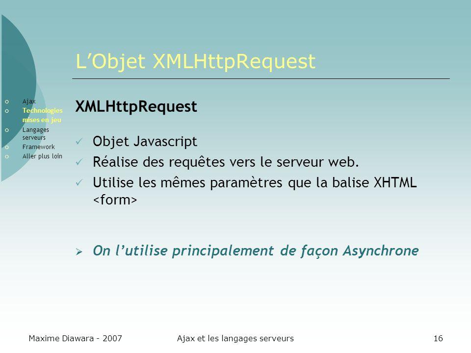 L'Objet XMLHttpRequest