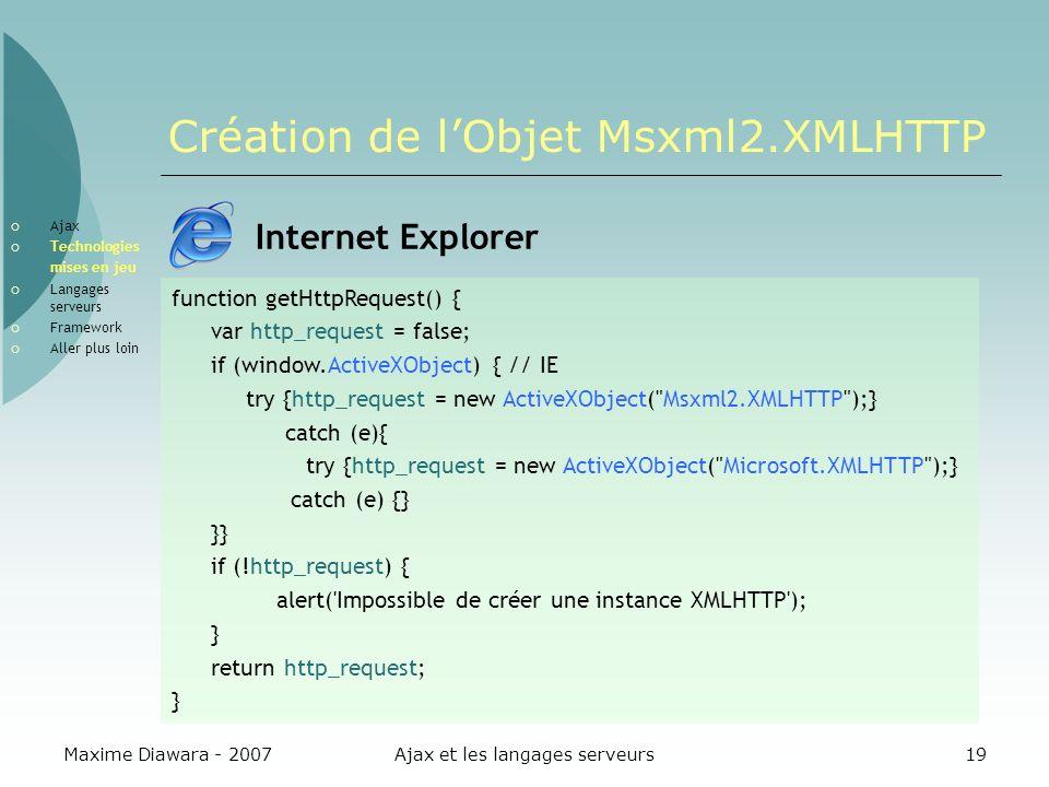 Création de l'Objet Msxml2.XMLHTTP