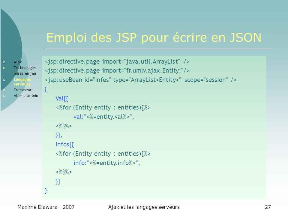 Emploi des JSP pour écrire en JSON