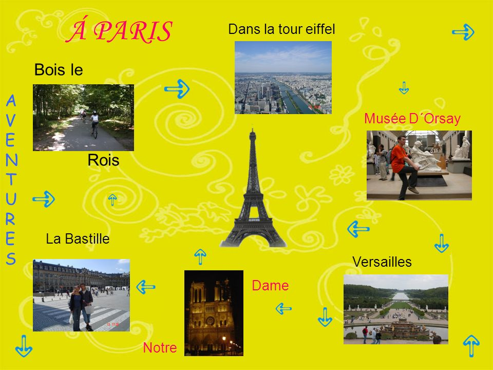 Á PARIS Bois le A V E N T U R Rois S Dans la tour eiffel Musée D´Orsay