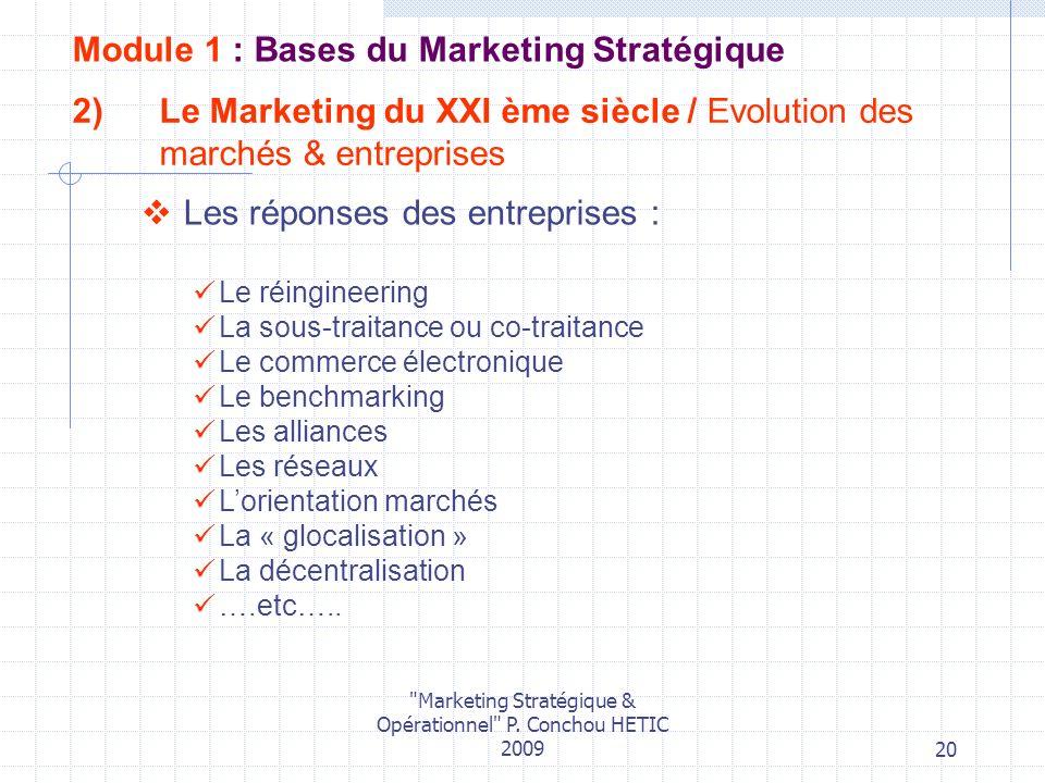 Le Marketing du XXI ème siècle / Evolution des marchés & entreprises