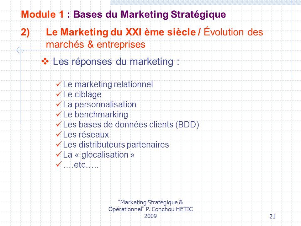 Le Marketing du XXI ème siècle / Évolution des marchés & entreprises